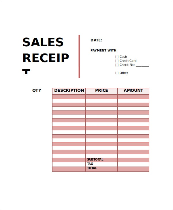 sales receipt template