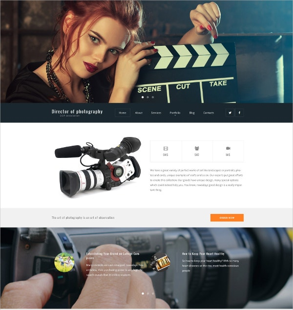 Photography Portfolio WordPress Website Theme $79