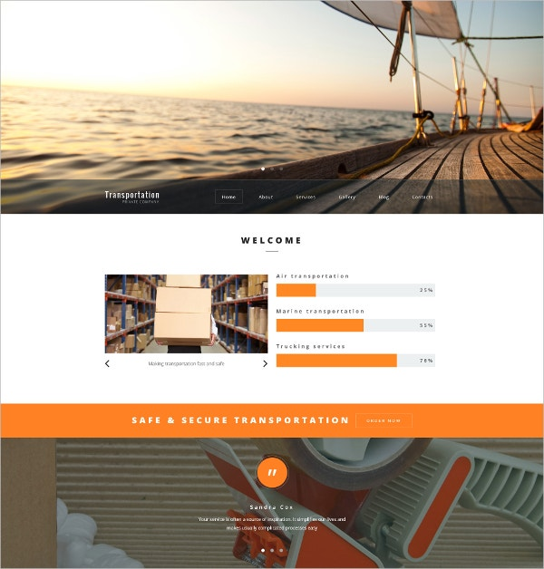 Transportation Company WordPress Website Theme $79