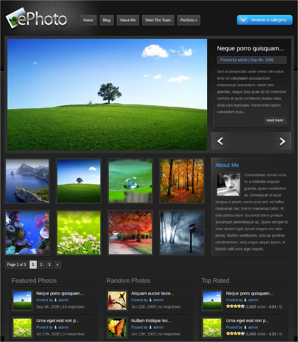 Photo Gallery Portfolio WordPress Website Theme