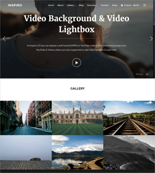 Professional Photo & Video Portfolio WordPress Website Theme