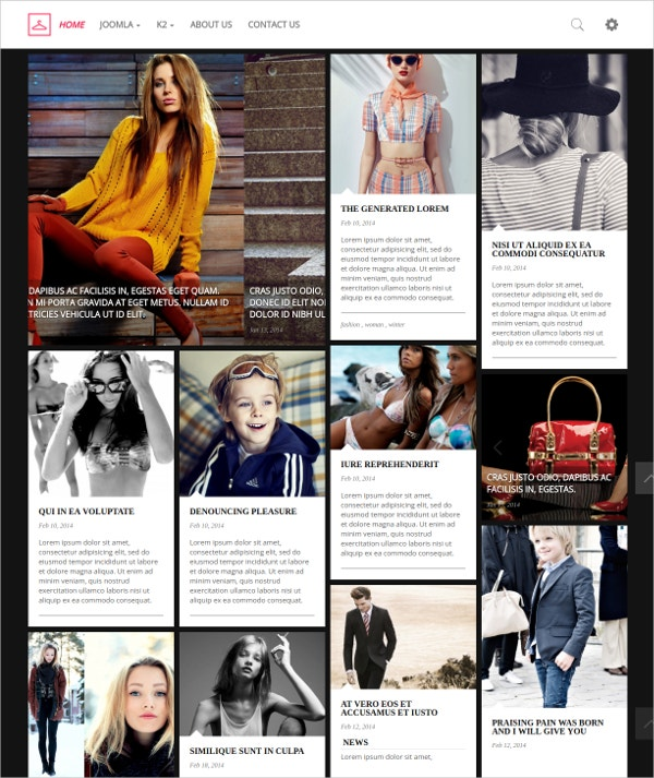 Fashion Blog Joomla Website Portfolio Template $30