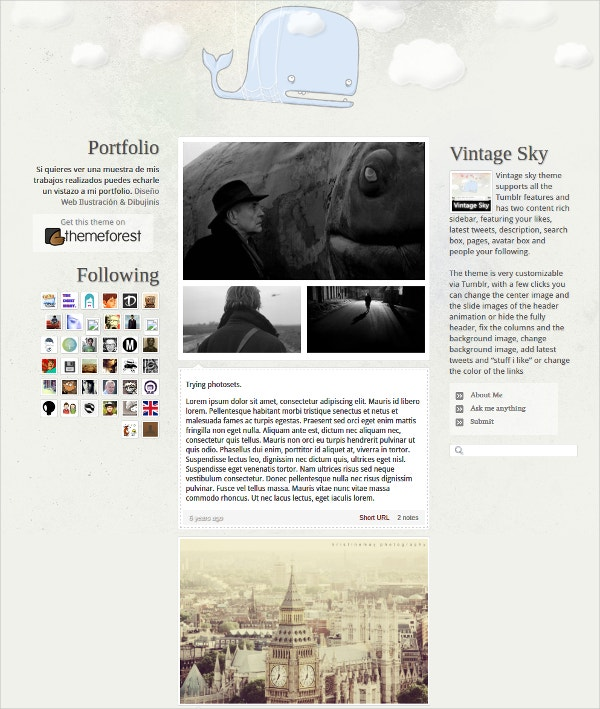 Vintage & Retro Tumblr Theme $32