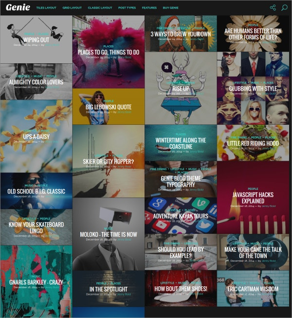 Grid Personal Blog Website Theme $44