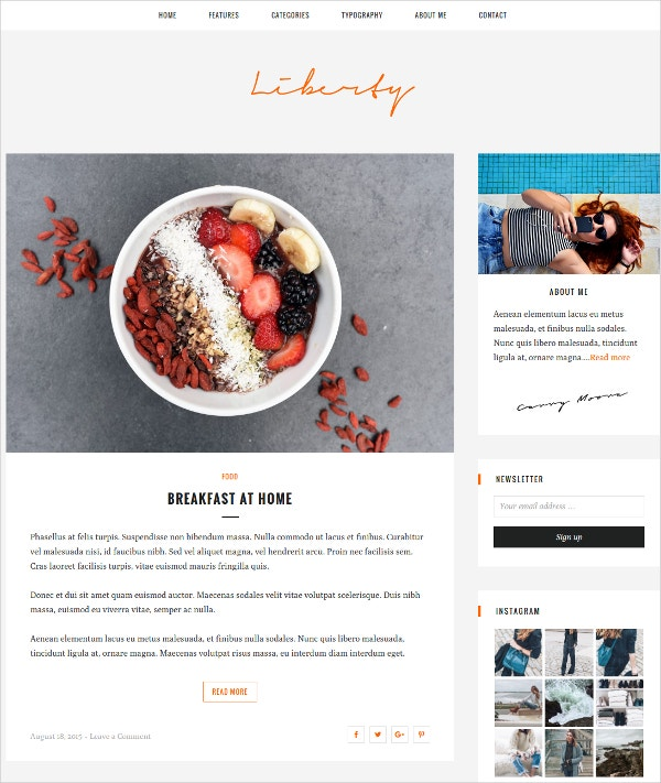 Food Personal Responsive Blog Website Theme $35