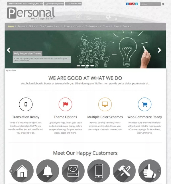 free personal portfolio wordpress website theme