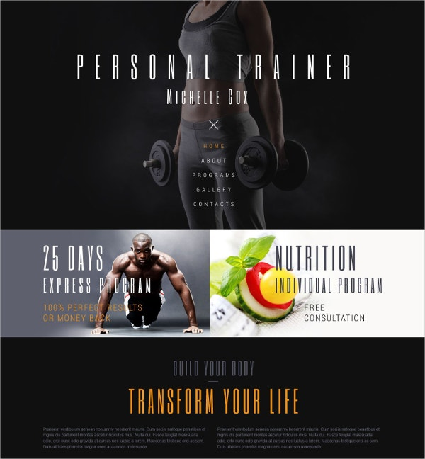Sport Personal Website Template $75