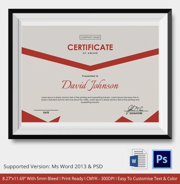 Boxing Certificate Award Template