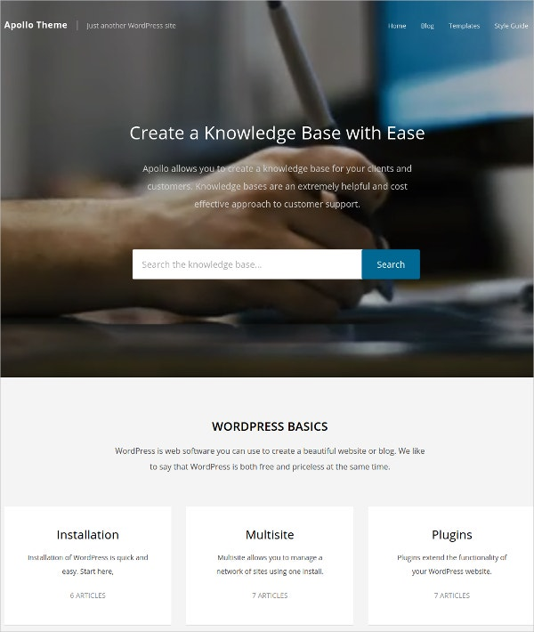 Search Knowledge Base WordPress Theme $39