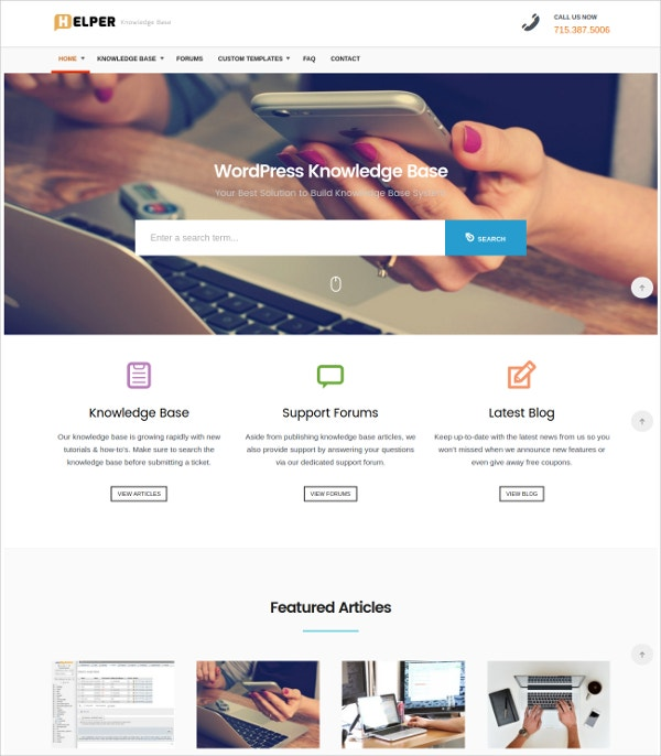 Knowledge Base Support WordPress Theme $49