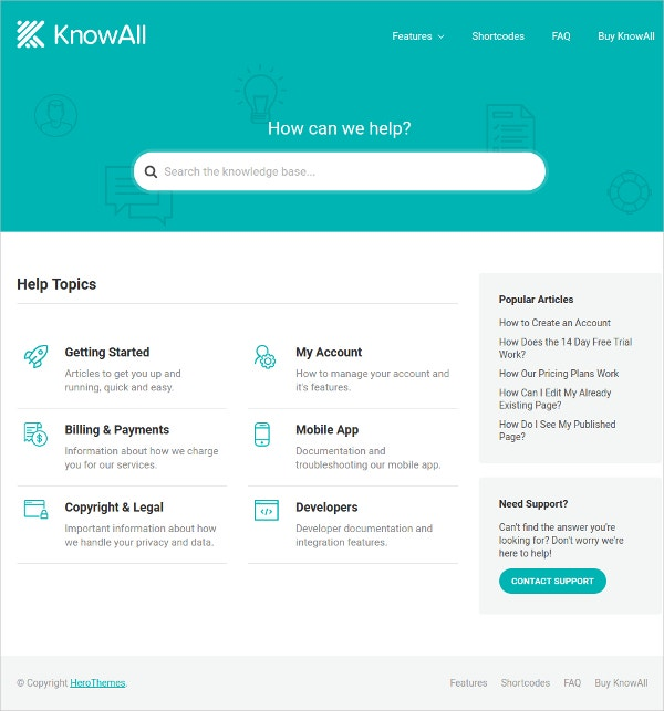 Knowledge Base Help WordPress Theme $99