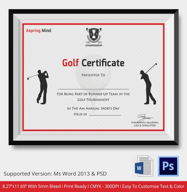 Golf Certificate Template 5 Word PSD Format Download – Sport Certificate Templates for Word