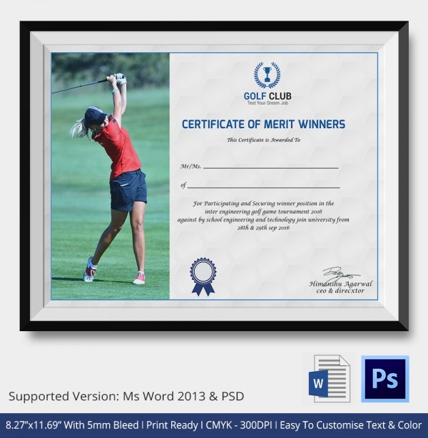 Golf Certificate Template   Word Psd Format Download  Free