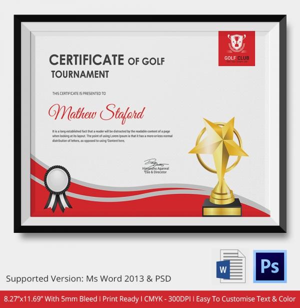 Golf Certificate Template 5 Word PSD Format Download - mandegar.info