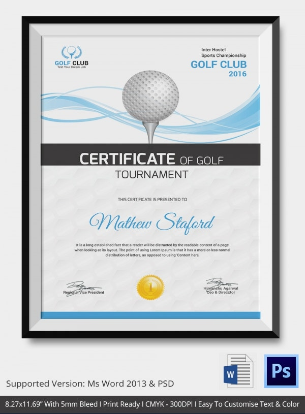 Participation Certificate in Golf Tournament
