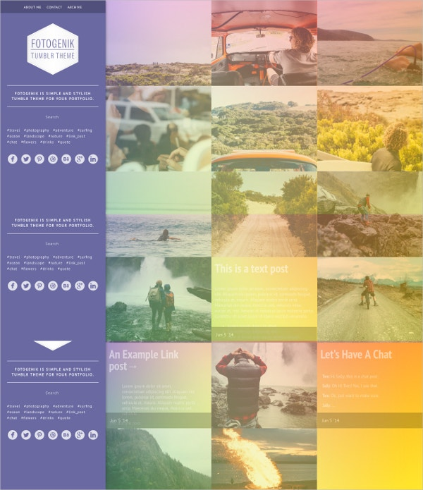 Photography Portfolio Tumblr Theme $32