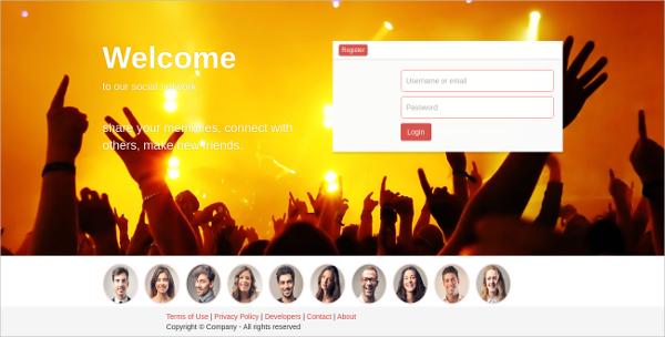 Facebook Social Network Bootstrap Template $15