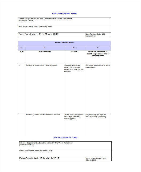 Risk Assessment Matrix Template Excel