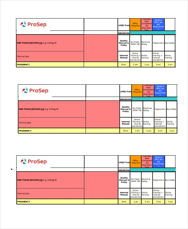 Employee Safety Training Matrix Template Excel