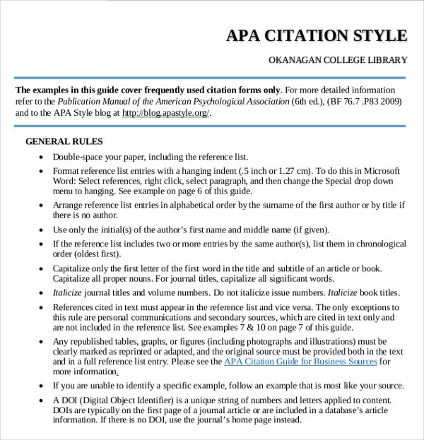 apa format citation template Below are standard formats and examples for basic bibliographic information recommended by the american psychological association (apa) for more information on the apa format all apa citations should use hanging indents format examples books format: author's last name, first initial.