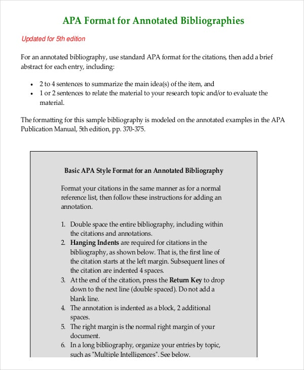 annotated bibliography apa style journal article