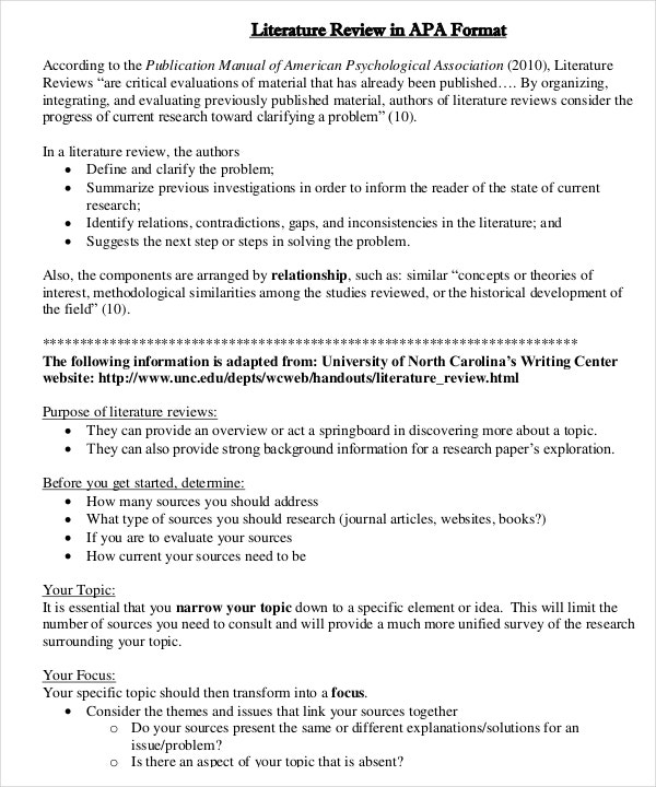 literature review template doc - apa lit review