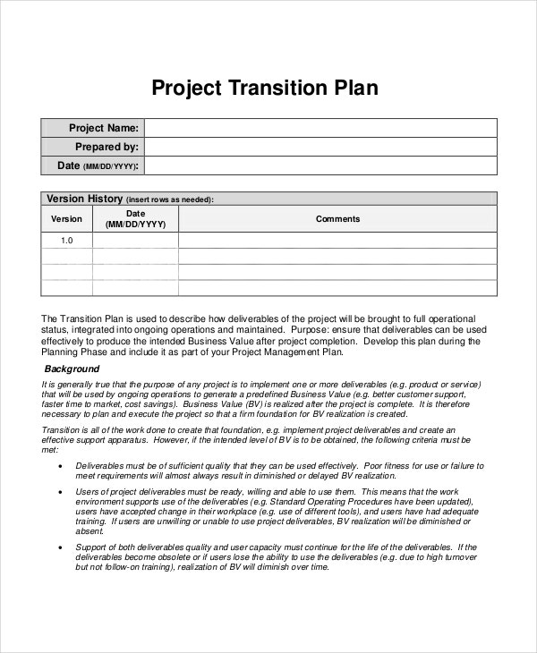 Transition Plan Template Project Transition Plan Template Project