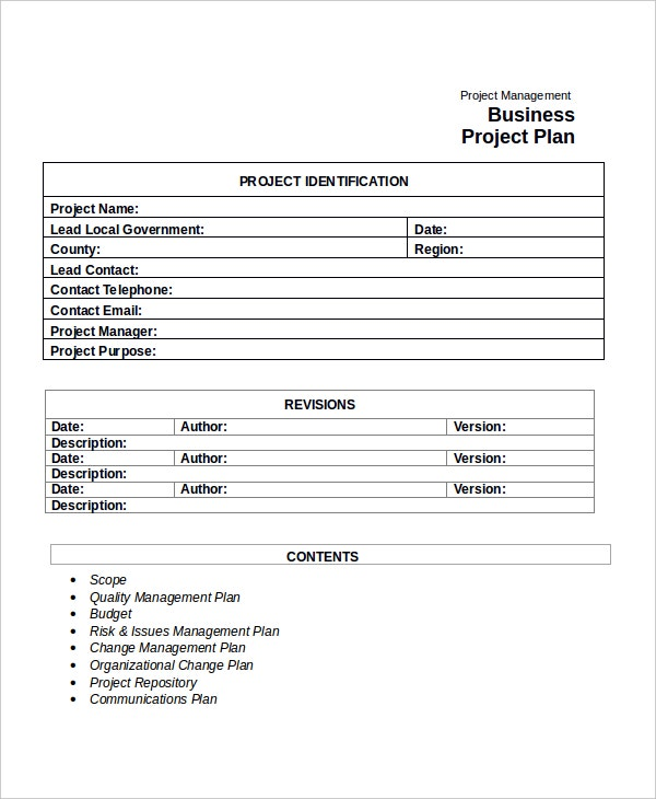 Business Project Plan Template Kleobeachfixco - What is a project plan template