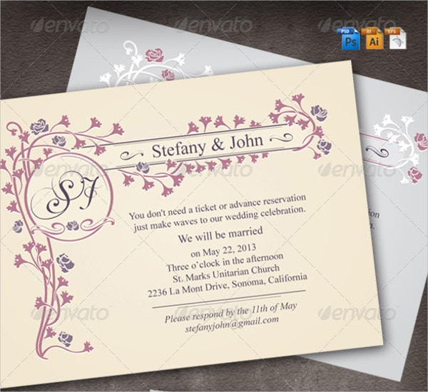 printable classic wedding invitation template