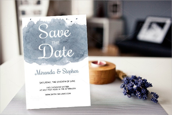 water color save the date wedding invitation template