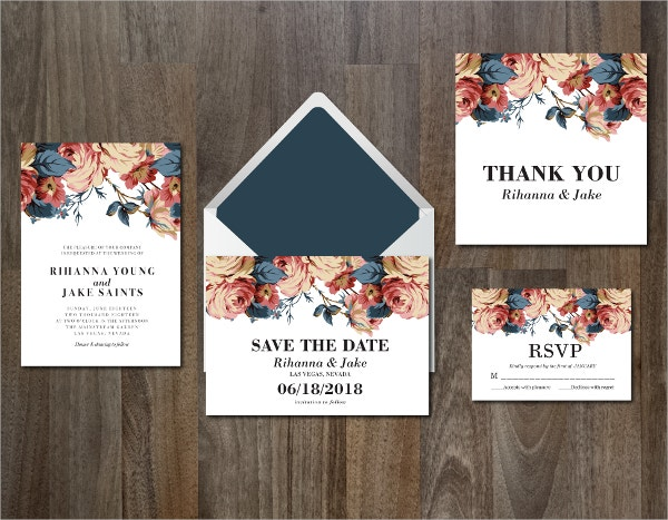 Printable Wedding Invitation Suite Flowers Template