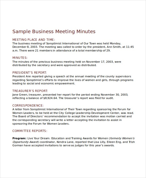 minutes of meeting email sample
