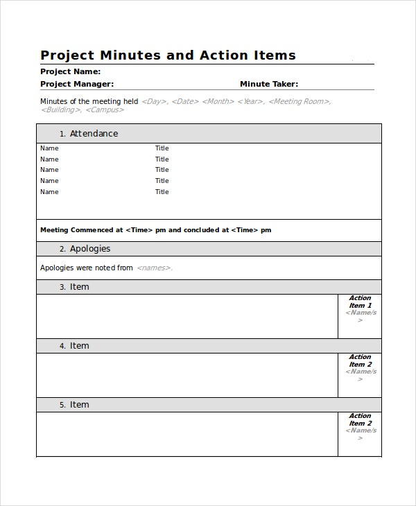 Meeting Minutes Template   Free Word Pdf Document Downloads