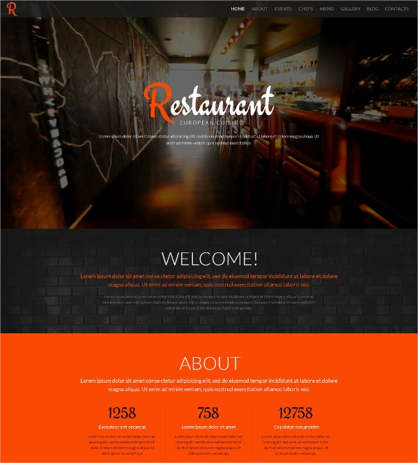 Tasty Food Restaurant One Page Parallax WordPress Theme $75