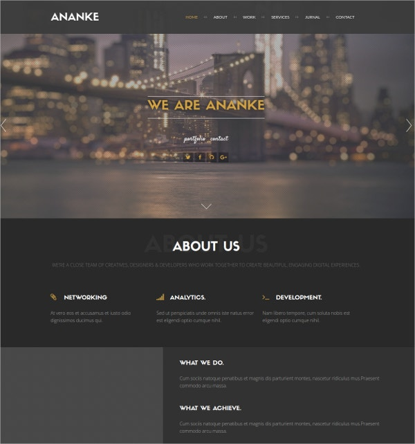 Business One Page Parallax WordPress Theme $44