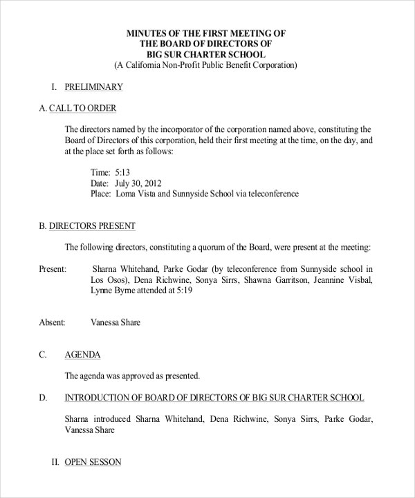 sample format of minutes of board meeting