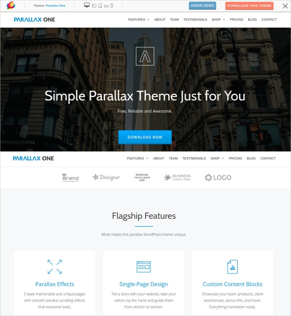 Free One Page Parallax WordPress Business Theme