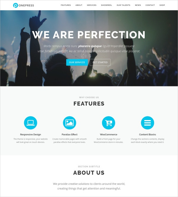 Free Stunning One Page Parallax WordPress Theme