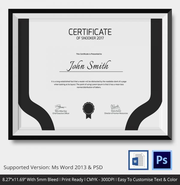 Premium Certificate of Snooker