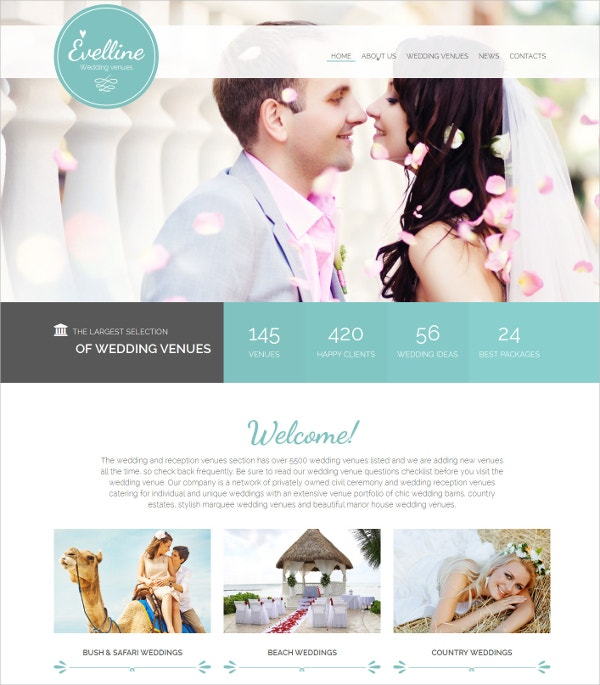 Wedding & Reception Website Template $69
