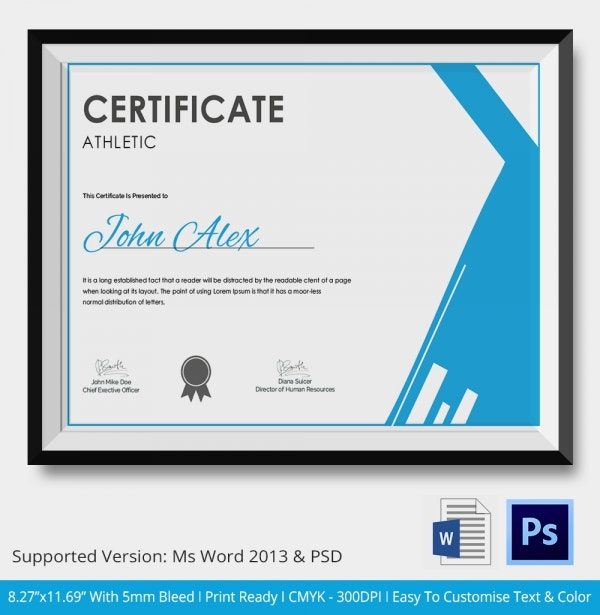 Athletic certificate 5 word psd format download free premium athletic certificate download yadclub Images