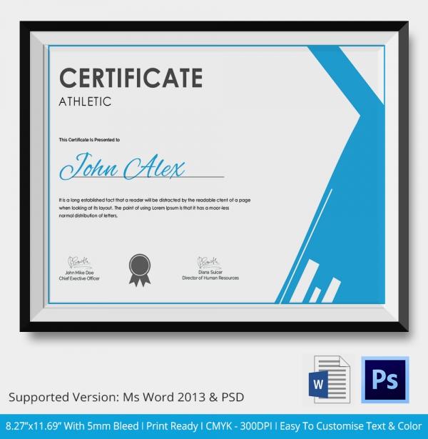 Premium Athletic Certificate Download