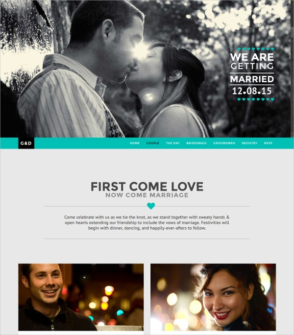 Responsive One Page Wedding Website Template $43
