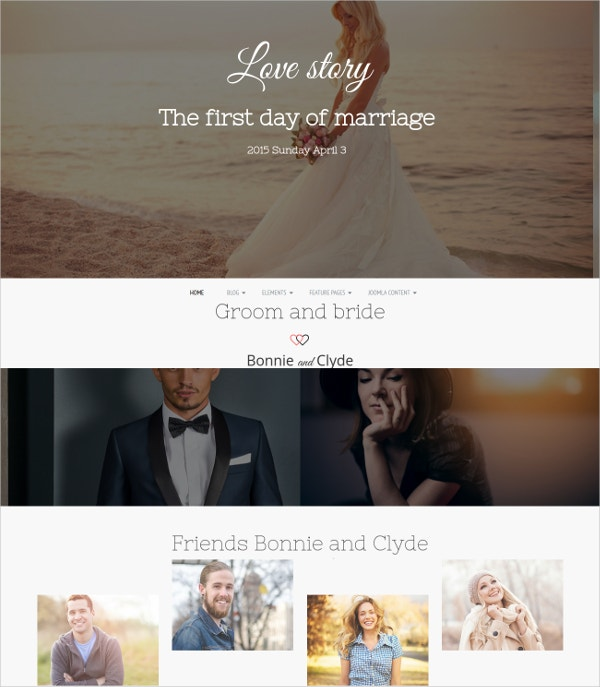 Elegant Wedding Joomla Website Template $39
