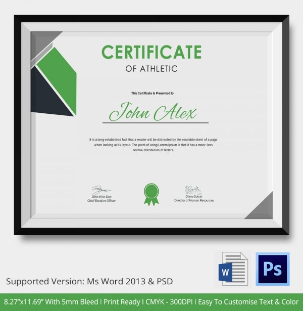 Best Athletic Certificate Template