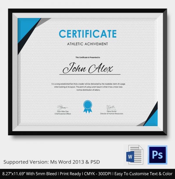 Athletic Achievement Certificate
