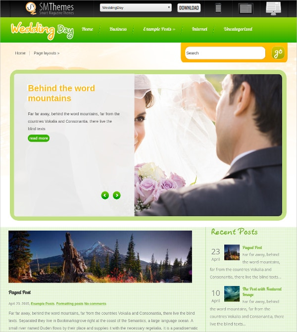 free wedding day wordpress website theme