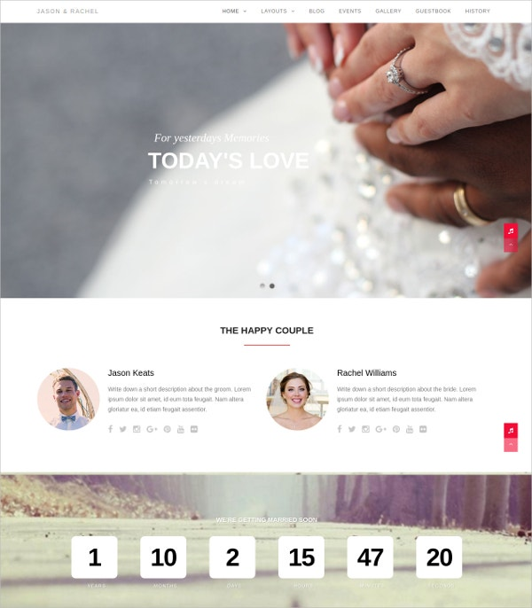 Responsive WordPress Website Wedding & Love Theme $49