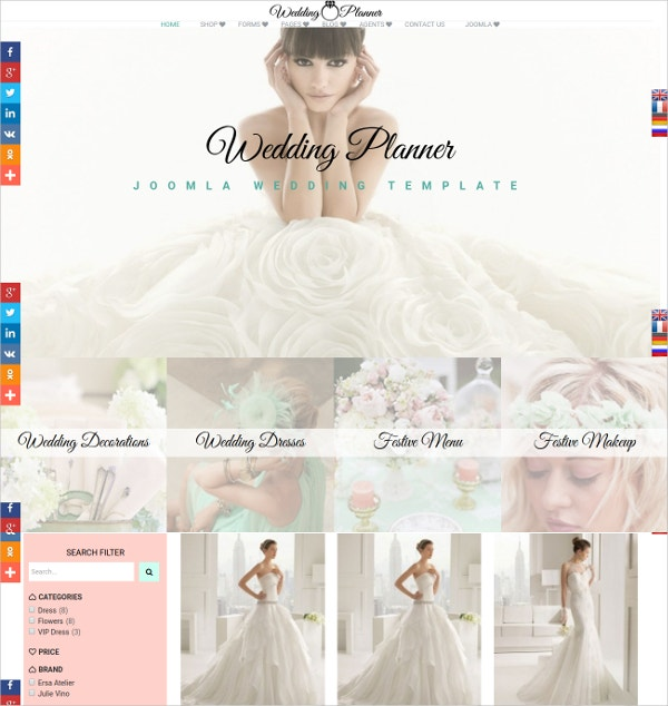 Beautiful Wedding Planner Joomla Website Template $69