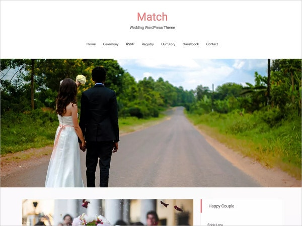 free modern wedding website theme
